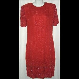 Vintage Ivana Christmas Art Deco Dress Sz 10